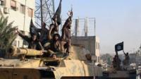 Militants in Raqqa, Syria