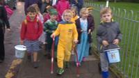 Taliesin Campbell walks to school
