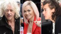 Left-right: Bob Geldof, Rita Ora, Harry Styles