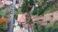 Aerial shot of mudslide