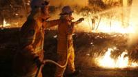 Australian firefighters tackle a bush fire