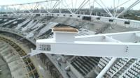 Up above steels which will support the new roof