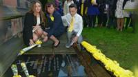 Family of Alan Henning with his memorial plaque