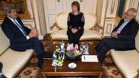 US Secretary of State John Kerry, former EU Foreign Policy Chief Catherine Ashton and Iranian Foreign Minister Mohammad Javad Zarif