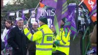 Dave Prentis at a picket line