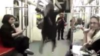 Woman dancing on Tehran Metro