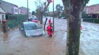 A car in flood water