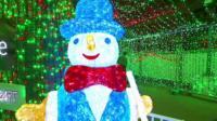 A lit up snowman