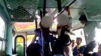 A girl hits a man on a bus in India