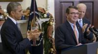 US President Barack Obama (L) and Vice President Joseph Biden (R) clap for Ash Carter