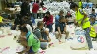 Volunteers helping with relief effort