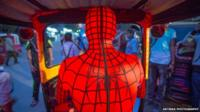 Spiderman driving a toktok in Egypt