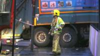 Crashed bin lorry, Glasgow