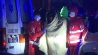 Ambulance services take care of those on board the cargo ship