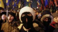 Activists of the Svoboda (Freedom) and Right Sector Ukrainian nationalist parties take part in a rally