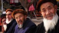 Bearded elderly Uighurs in Xinjiang province