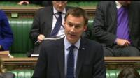 Health secretary Jeremy Hunt giving statement to House of Commons on UK Ebola patient's condition