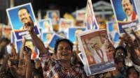 A supporter of Sri Lankan President Mahinda Rajapaksa