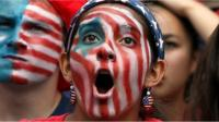Woman with US flag facepaint