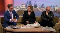 Fraser Nelson, Editor of the Spectator, Bénédicte Paviot, UK Correspondent for France 24 and Peter Brookes, cartoonist for The Times review the Sunday papers with Andrew Marr.