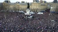 Thousands of people gather at Place de la Republique in Paris