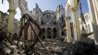 The remains of a cathedral are seen in Port-au-Prince, Haiti, January 2010