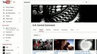 The US Centcom Youtube page with an IS header and two IS videos uploaded