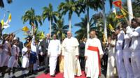 Pope Francis arrives at Colombo airport