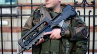 French soldier with gun protecting a Jewish school in Paris, 14th January 2015