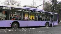 Damaged trolleybus
