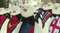 Snowmen at World Economic Forum in Davos - put there by the group Action 2015