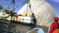 Screen grab shows the recovery boats collecting the Two Eagles balloon 4 miles offshore in Baja California