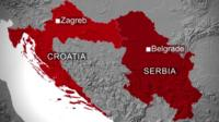 Map showing Croatia and Serbia