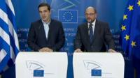 Greek PM Alexis Tsipras (left) and EU Parliament President Martin Schulz