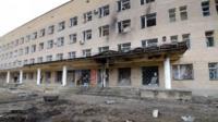 """Hospital of Donetsk""""s Tekstilshik district after it was hit by a shelling"""