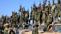 Chadian soldiers gather