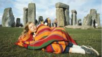 Woman at stonehenge