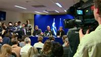 Greece's finance minister Yanis Varoufakis give press conference