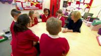 Primary school children having a group discussion