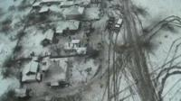 Still from drone footage over Debaltseve