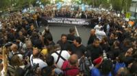 Argentines marching in Buenos Aires protesting against the death of Alberto Nisman