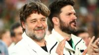 Russell Crowe celebrates South Sydney Rabbitohs NRL Grand Final win