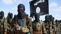 Masked and armed al-Shabab fighters - file photo