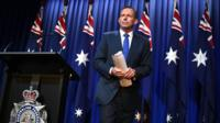 Australian Prime Minister Tony Abbott addresses the media during a national security statement at the Australian Federal Police headquarters in Canberra