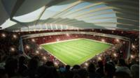 "In this artist""s illustration provided by Qatar 2022/HH Vision, an elevated view is displayed of the 45,330 capacity Al Khor stadium located in the north east of Qatar, set in its own park setting and designed as a stunning asymmetrical seashell motif"