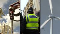 Devolving powers - fracking, police, and wind turbine images