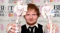 Ed Sheeran with two BRIT Awards