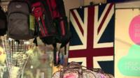 Union flag amongst market stall items