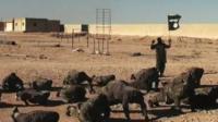 Islamic State members training