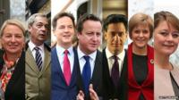 Natalie Bennett, Nigel Farage, Nick Clegg, David Cameron, Ed Miliband, Nicola Sturgeon, Leanne Wood